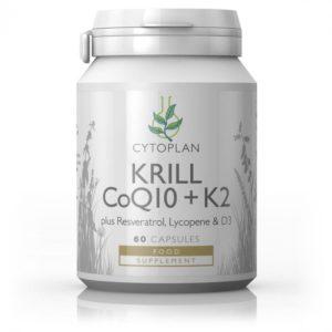 Cytoplan Krill Oil + CoQ10, K2 – krilli (ehk hiigelvähi) õli koensüüm Q10 ja K2 vitamiiniga, 60 kapslit