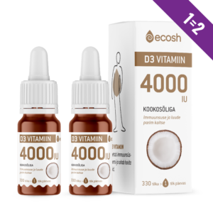D3-VITAMIIN KOOKOSÕLIGA 4000 IU, Ecosh Life Vitamine D3 4000 IU with coconut oil, 10ml