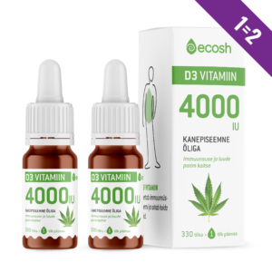 D3-VITAMIIN KANEPIÕLIGA 4000IU, Ecosh Life Vitamin D3 4000IU with hemp oil, 10ml