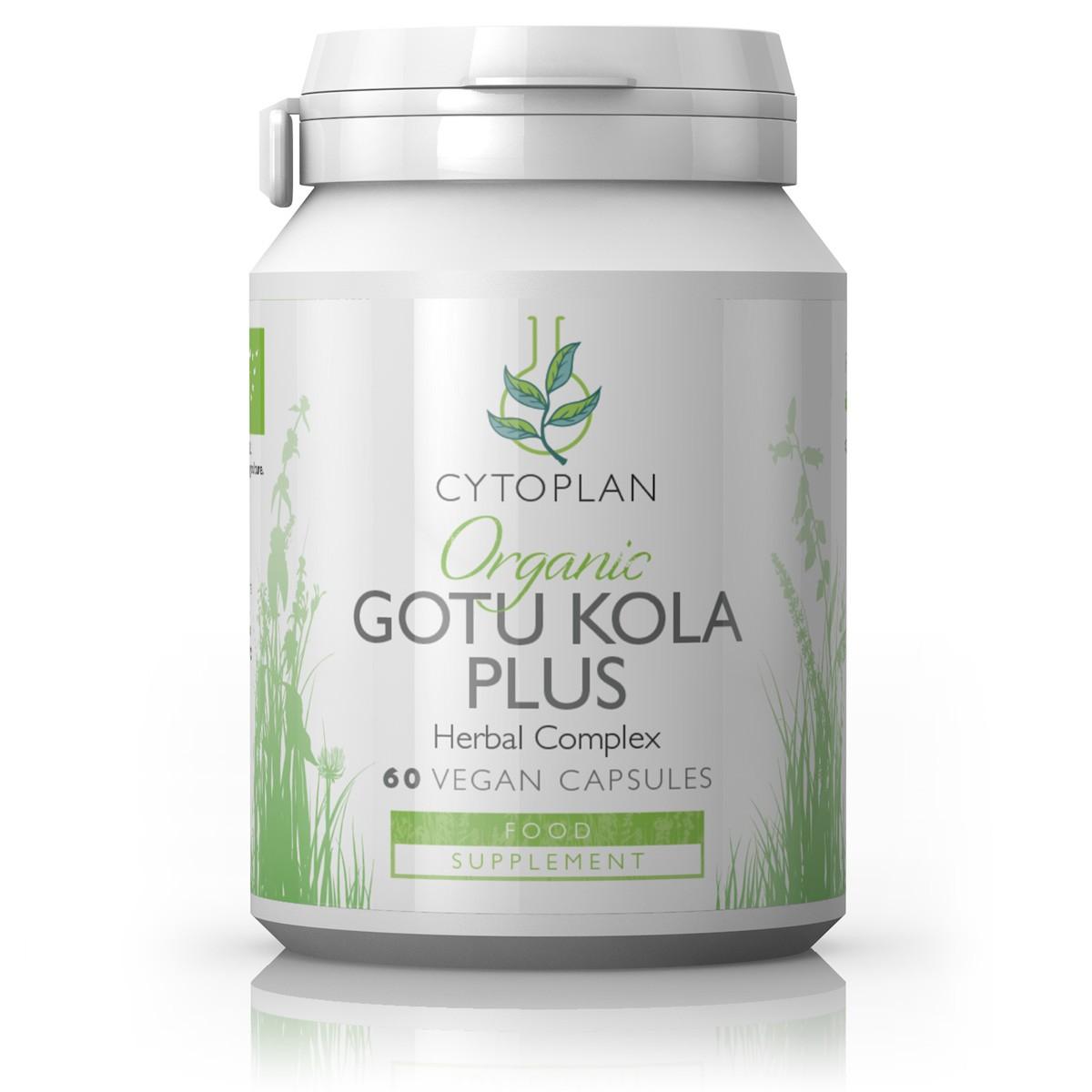 Cytoplan Organic Gotu Kola taimne segu, soodustab aju ja närvisüsteemi tegevust, 60 kapslit