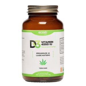 Ecosh Life D3 Vitamiin 4000 IU, 90 kapslit