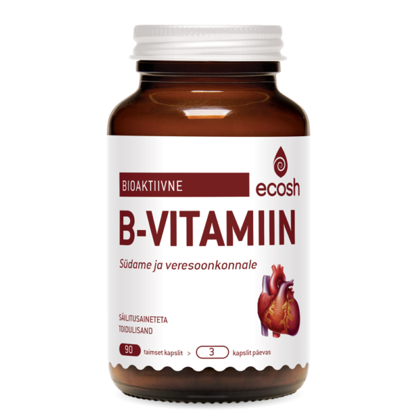 Ecosh Life Bioaktiivne B vitamiin südamele, 90 vegan kapslit. Toidulisand.