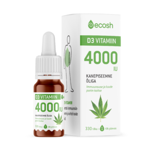 D3 VITAMIIN KANEPIÕLIGA 4000IU, Ecosh Life Vitamin D3 4000IU with hemp oil, 10ml