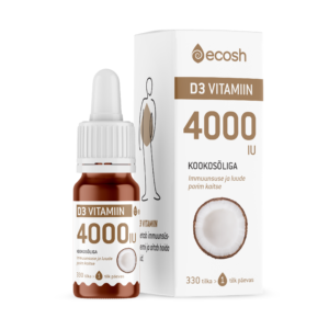 D3 VITAMIIN KOOKOSÕLIGA 4000 IU, Ecosh Life Vitamine D3 4000 IU with coconut oil, 10ml