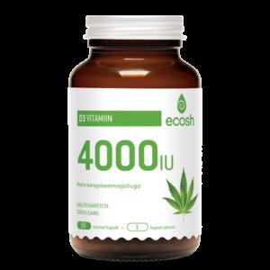 D3 VITAMIIN 4000 IU, Ecosh Life D3 Vitamin 4000 IU, 90 kapslit