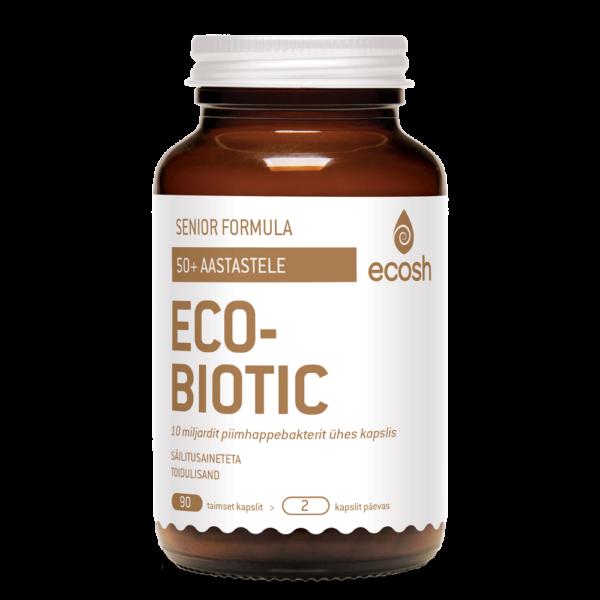Ecosh Life, ECOBIOTIC Senior Formula, probiootikum eakatele (50+ a.), 90 taimset kapslit