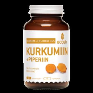 KURKUMIIN + PIPERIIN, Ecosh Life Curcumin 95% + piperine, 90 kapslit