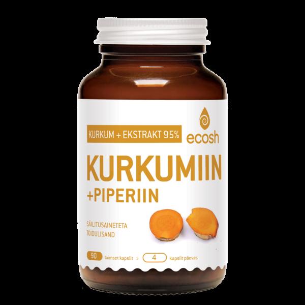 Ecosh Life KURKUMIIN + PIPERIIN, 90 kapslit