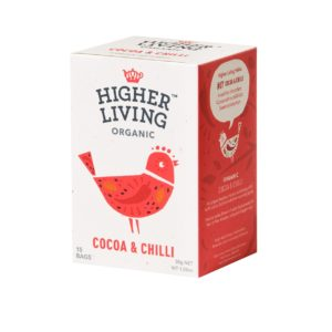 Higher Living Organic kakao ja chilli maitseline tee, 15 tk pakis