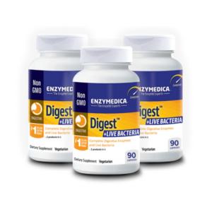 ENZYMEDICA Digest + Live Bacteria, 90 kapslit, KOLMENE KOMPLEKT