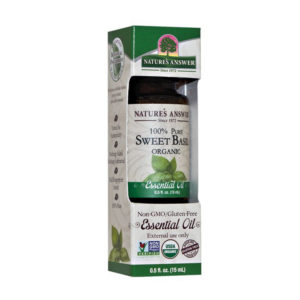 ORGAANILINE BASIILIKU EETERLIK ÕLI, Nature's Answer Oil Organic Basil, 15ml