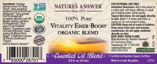 Orgaaniline Vitaalsuse ja Energia-Boost eeterlike õlide segu