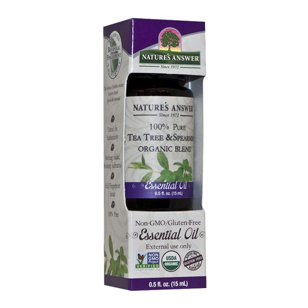 Nature's Answer Organic Tea Tree and Spearmint, Orgaaniline Teepuu ja mündi eeterlik õli 15ml