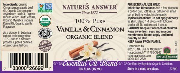 Orgaaniline Vanilje ja Kaneeli eeterlik õli