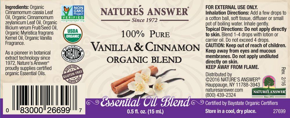 69c75ef3d76 Nature´s Answer Organic Vanilla and Cinnamon, Orgaaniline Vanilje ja Kaneeli  eeterlik õli 15ml