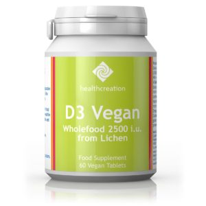 D3 VITAMIIN 2500IU, Health Creation Vegan Vitamin D3 2500IU, 60 kapslit