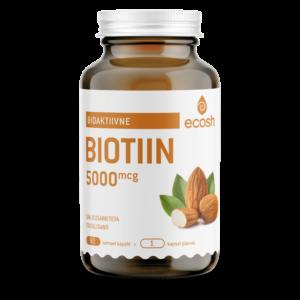 BIOTIIN 5000 μg-ilu vitamiin, Ecosh Life, 90 kapslit